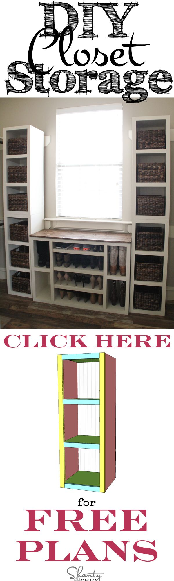 DIY Closet Storage Shelves! I need this! Free Plans at shanty-2-chic.com