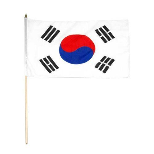 "Korea South Flag 12 x 18 inch by US Flag Store. $2.20. Mounted to a 24"" Wooden Stick. Brilliant Colors Printed on Polyester Fabric. Sewn Edges. Low Cost Shipping Available!. International 12in x 18in Stick Flag. Korea South stick flag 12 x 18 inch, mounted on a 24 inch wooden stick. Flag is made from polyester and printed in bright colors to make an attractive flag. Each flag is individually sewn around the edges."