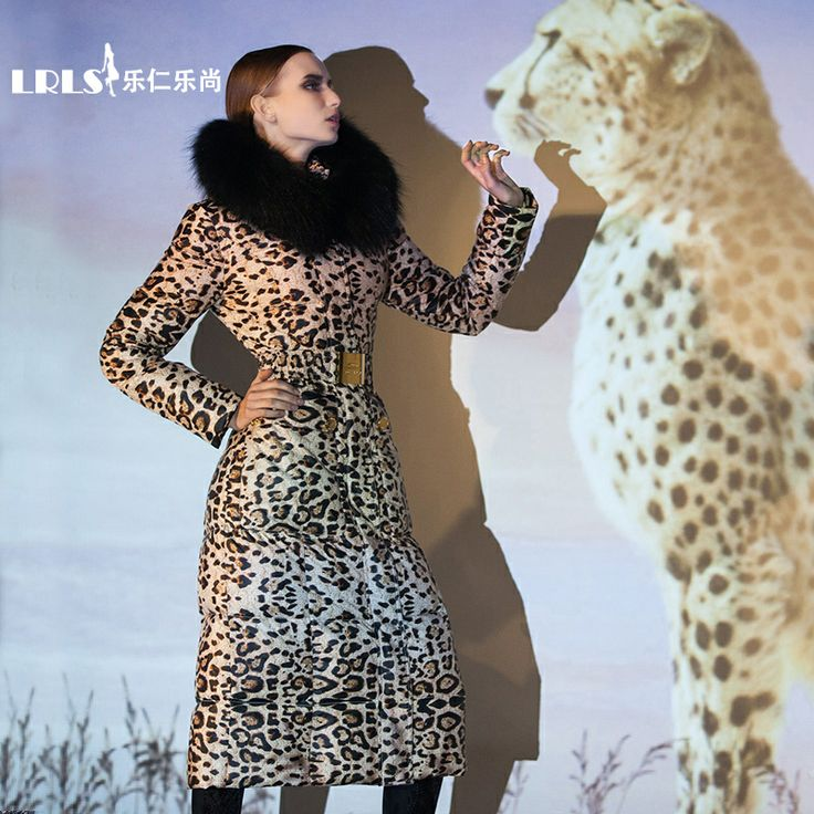 ROYALCAT new 2013 genuine new leopard lady long section of thick down jacket luxury street tide models $388.00