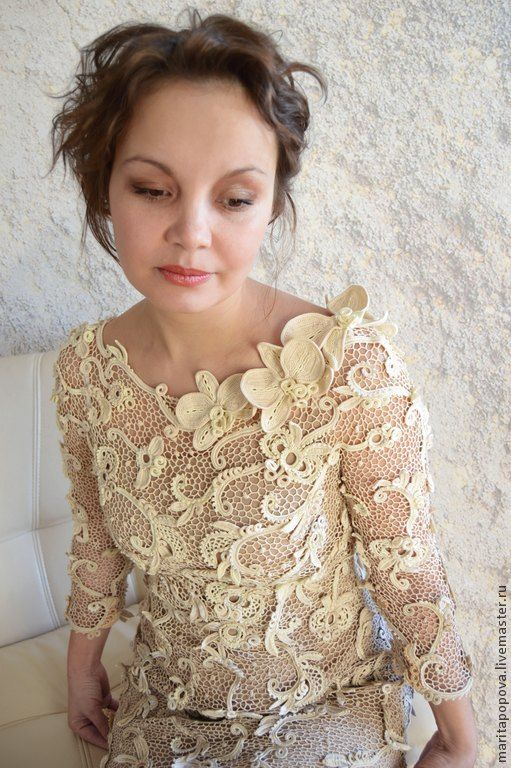 """Купить Платье """"Цвет нежности"""" - бежевый, орхидеи, пастельные тона, пастельные цвета, нежность, телесный"""