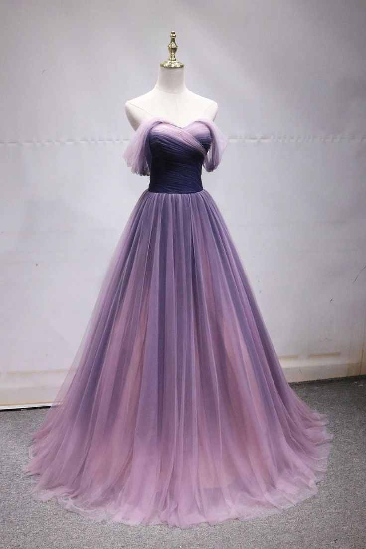 Simple off shoulder tulle long prom dress, tulle formal dress