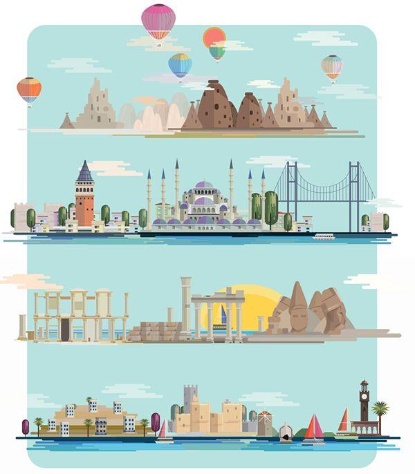 Sklife Magazine / Turkey Issue Cover on Behance, illustration,editorial,izmir,antalya,nemrut,hot baloons,kapadokya,istanbul,galata,design,graphic