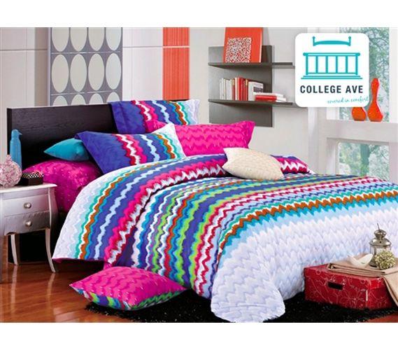 Plenty Of Color - Rainbow Splash Twin XL Comforter Set - College Ave Designer Series - Best Cotton Comforter