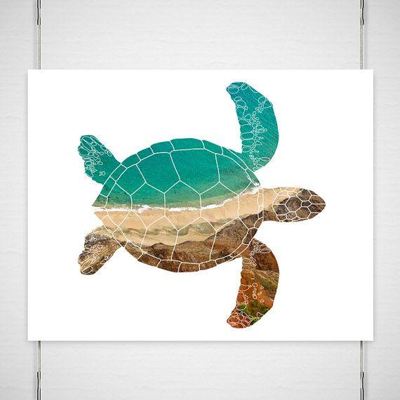 Tortue de mer photographie / silhouette print / aqua minime moderne Kauai-océan-mer vert brun / choisissez votre photographie de format / « Beach Comber » sur Etsy, 18,74 €