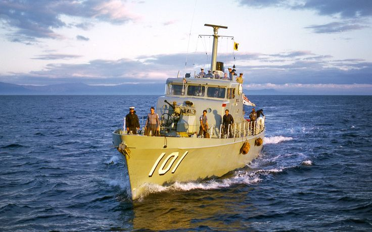 HMAS BAYONET, Attack Class Patrol Boat, early morning rendezvous with HMAS ANZAC near Cairns, Queensland in 1973.