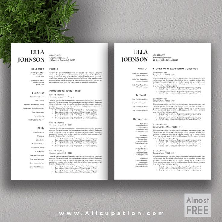 allcupation free professional resume template cv template 1 2 page resume - Free Creative Resume Templates Word