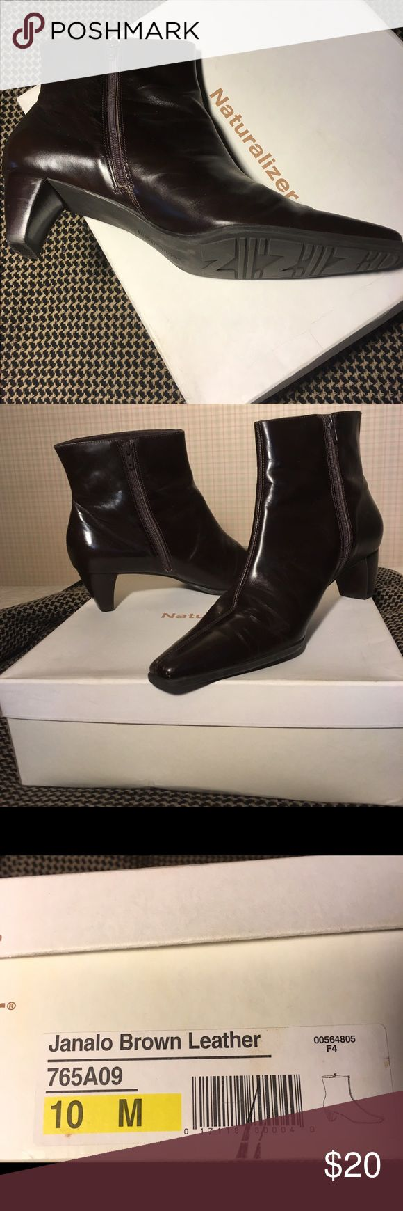 Naturalizer brown leather ankle boots Naturalizer brown leather side-zippered boots. Thin heels. Naturalizer Shoes Ankle Boots & Booties