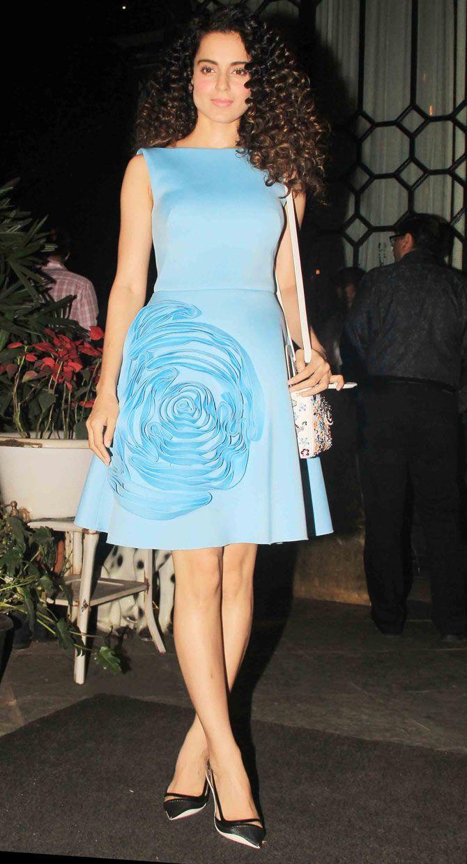 Kangna Ranaut at Sanjay Leela Bhansali's bash in Gauri and Nainika dress and Dior shoes.