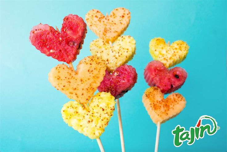 Valentines Day recipe (Watermelon, Pineapple, cantaloupe and Tajin using a cookie cutter)