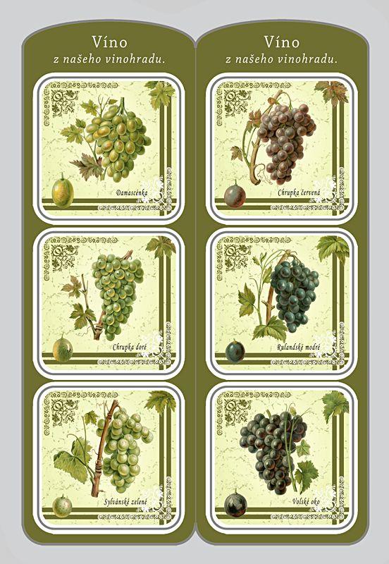 Sada 6 ks podtácků s motivy starých odrůd vinné révy