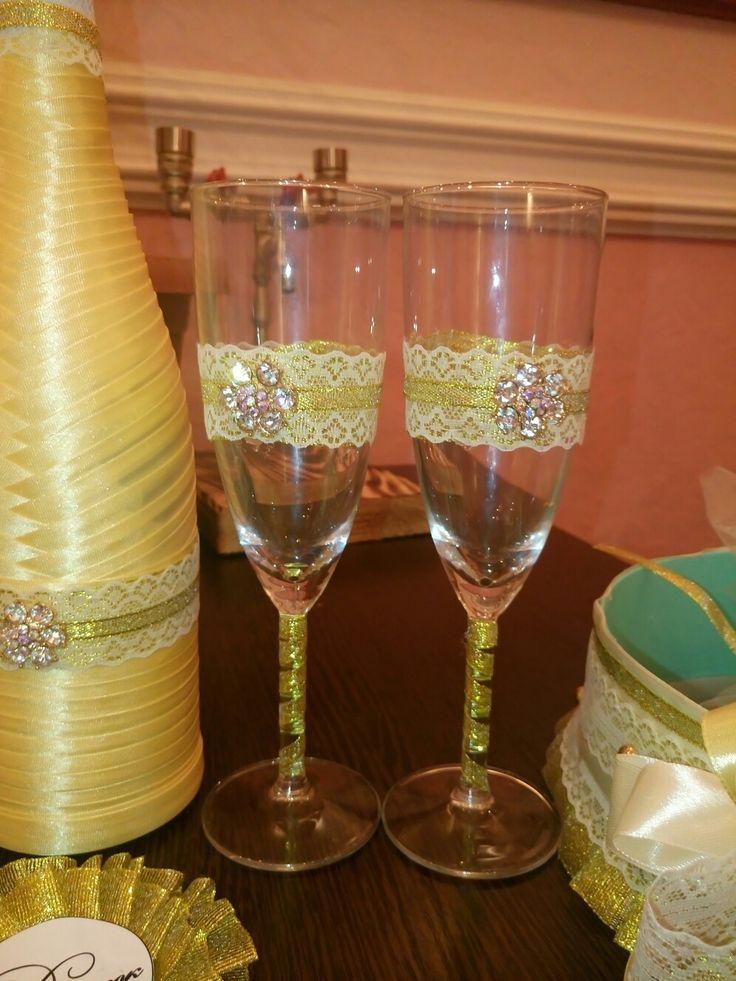 Свадебные бокалы#золотая свадьба