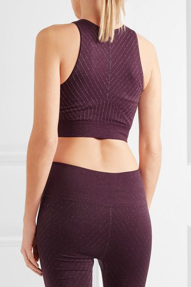 Lucas Hugh - Stardust Metallic Stretch-jersey Sports Bra - Plum - large