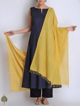 Buy Mustard Natural Dyed Cotton Handwoven Dupatta Online at Jaypore.com