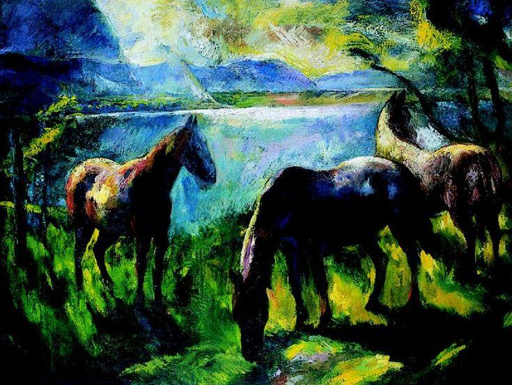 Szőnyi, István (1894-1960) - Horses in the yard, 1926