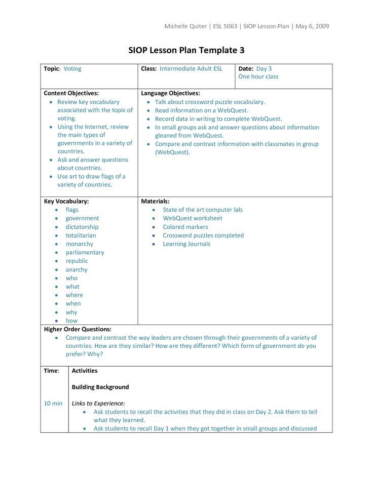 25+ best ideas about Lesson plan templates on Pinterest | Lesson ...