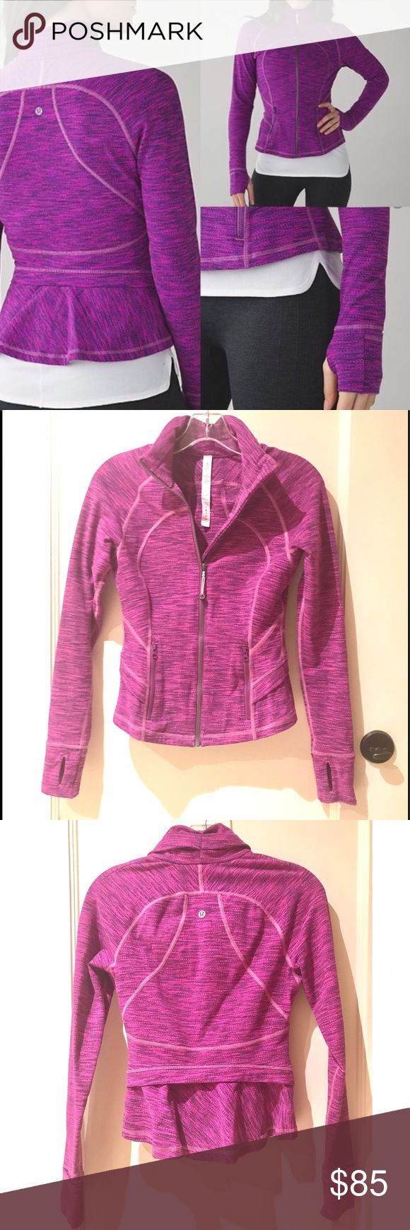 """NWOT Lululemon Hustle In Your Bustle Jacket SOLD OUT Lululemon Hustle In Your Bustle Jacket. Draped collar for warmth, relaxed hem for easy moving, and added thumbholes and fold-over Cuffins™ finger covers to keep sleeves down & fingers warm. Similar to the define jacket but with a more feminine PEPLUM HEM! Soft and comfortable, it is also excellent for layering. It is very flattering and the color is amazing! Form fitting yet slimming. Width: 15"""" across under the arms. New without tags…"""