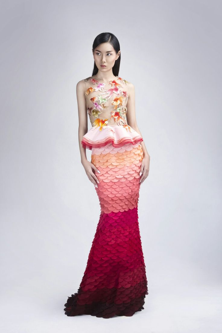 Goldfish silk embroidery detail top and Silk organza fish scale mermaid skirt @soknan_cambodia #ss2017 #cambodia