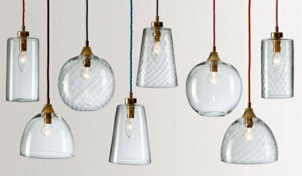 lampen pendelleuchten designs gläserne lampenschirme