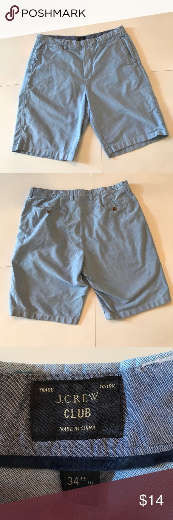 """Men's J. Crew Club Shorts in Blue Chambray Men's J. Crew club shorts in lightweight blue chambray. Excellent condition! Very versatile for summer! 10.5"""" inseam. 100% cotton. Size 34. J. Crew Shorts Flat Front"""