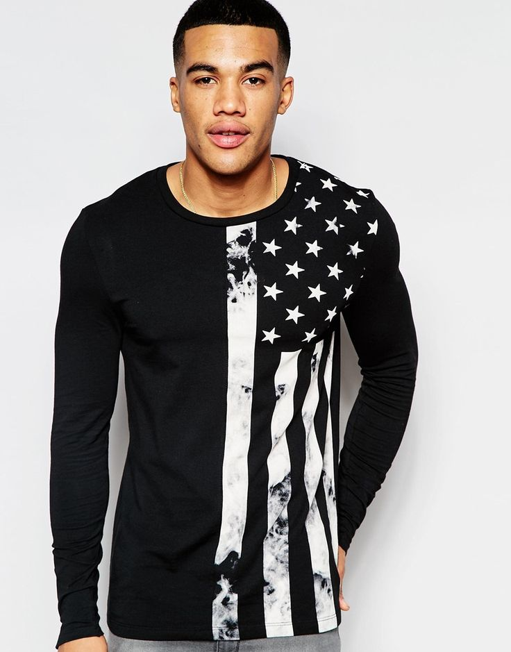 Image 1 of ASOS Muscle Long Sleeve T-Shirt With Flag Print And Cuff Zips