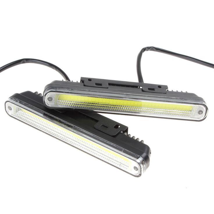 2 x 20cm COB LED Vehicles / Car Daytime Running Light DRL With Installation Bracket Super White Light Warning / Security Lamp