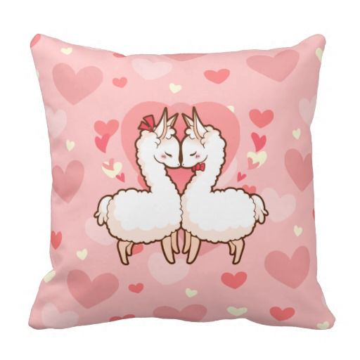 Cute, kawaii love llama lovers pillow with pink hearts in the background! This is a perfect Valentine's Day gift!