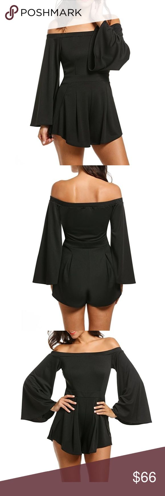 Off Shoulder Bell Sleeve Fit n Flare Black Romper Boho bell sleeves, a flirty off shoulder style, and figure flattering waisted, fit and flare look. This romantic romper is chic, comfortable, and easy to wear. Go casual with sandals and a floppy hat or dress it up for date night!  Available in classic black and blush pink.   ❌ Sorry, no trades.   fairlygirly fairlygirly Pants Jumpsuits & Rompers