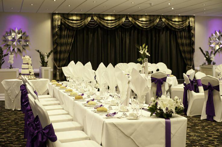 The Beautiful Arlington Suite ready for Wedding - in Cadbury Purple www.barnstaplehotel.co.uk