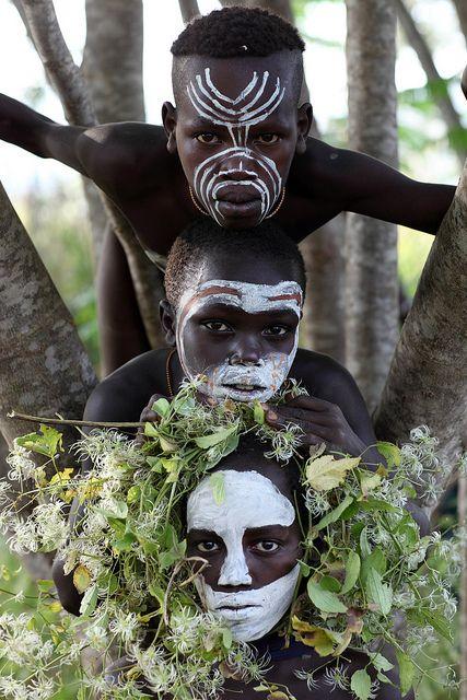 Suri boys photographed by Dietmar Temps by the Kibish River, South Omo, Ethiopia.