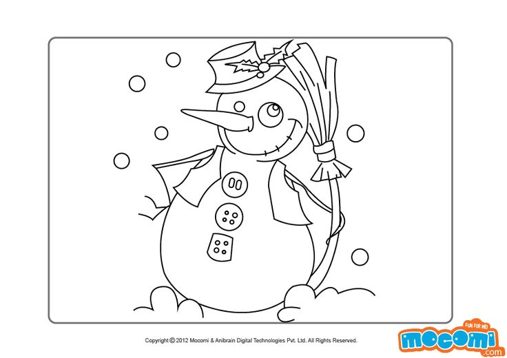 merry christmas snowman colouring pages for kids