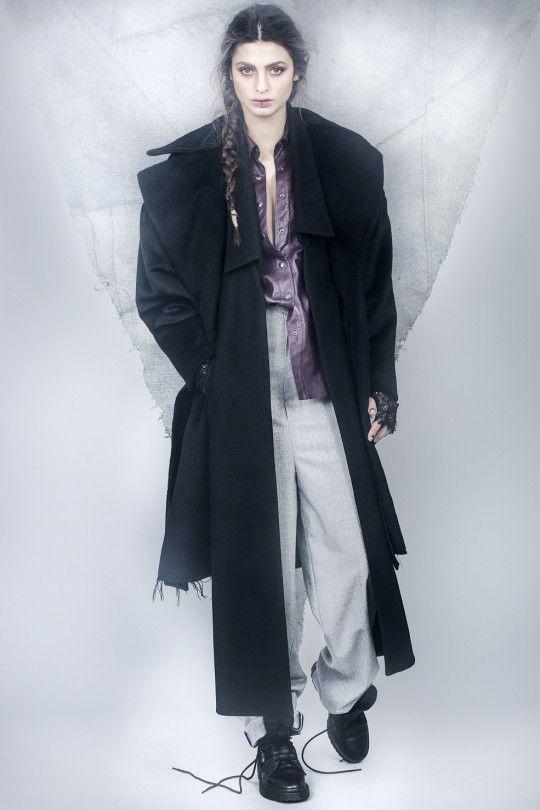 #ALMAZ Black Duality Coat /// Bordeaux Leather Shirt /// Masculine Cut Grey Trousers