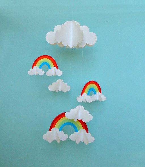 Rainbows and Clouds 3D Hanging Baby Mobile/3D by goshandgolly