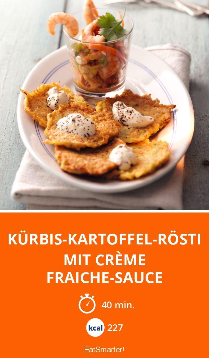 Abendessen: Kürbis-Kartoffel-Rösti mit Crème fraiche-Sauce - smarter - Kalorien: 227 Kcal - Zeit: 40 Min. | eatsmarter.de