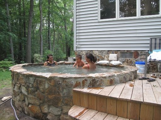 landscape stone sauna design hot tub