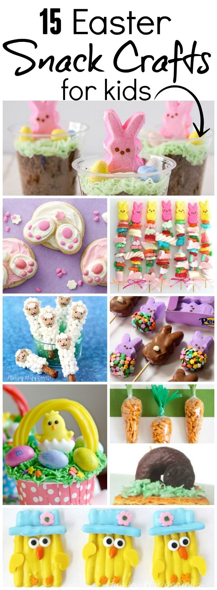 A collection of 15 of the most delicious and fun edible crafts for Easter on Pinterest!