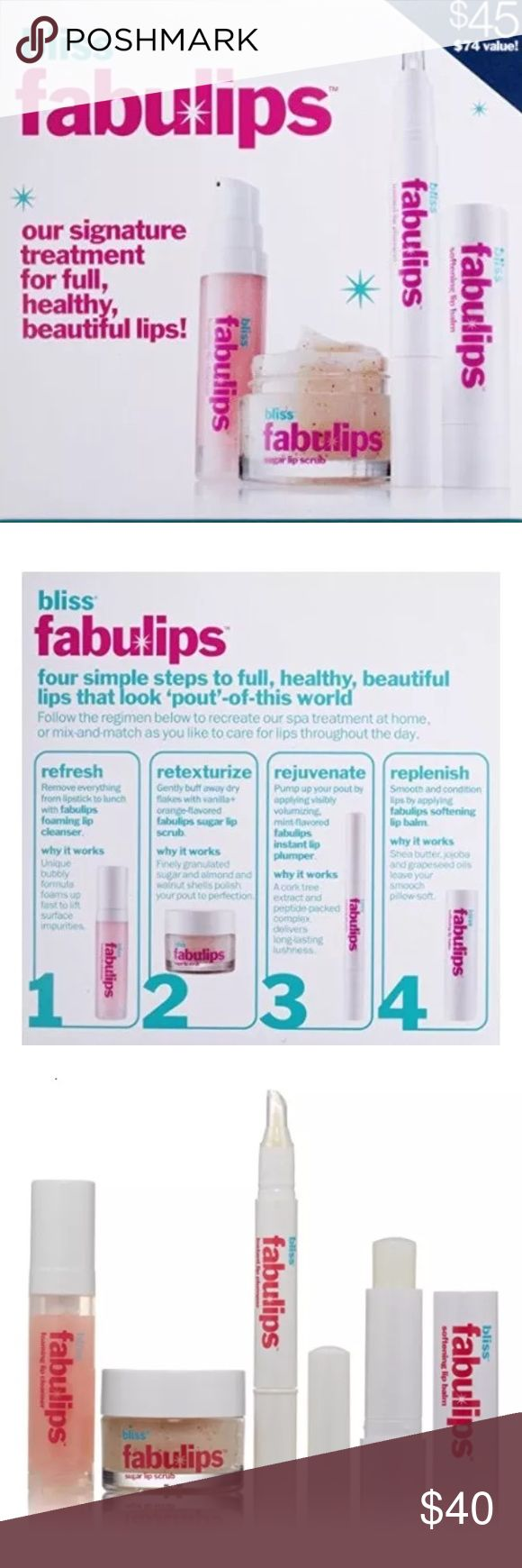 Fabulips -It's all here! For a perfect pout, this is it! It's literally all here. 💯Authentic! BLISS FABULIPS 😚👄  Brand New/Boxed  Price cut dramatically!  Description  It's a facial for your lips! Designed to recreate bliss Spa's popular and unique fabulips treatment, this pout-perfecting kit cleans, exfoliates, plumps, and softens.  Benefits A routine to leave your lips full, healthy, and beautiful. Bliss Makeup Lip Balm & Gloss