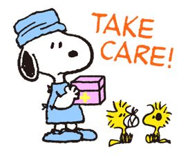 Take care! Snoopy doctor and friends.