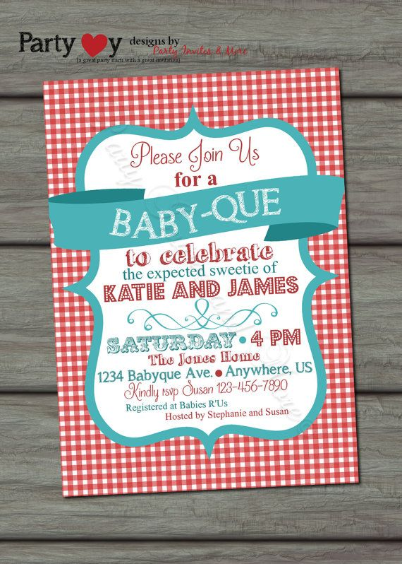 BBQ Baby Shower Invitation Barbeque Baby Shower