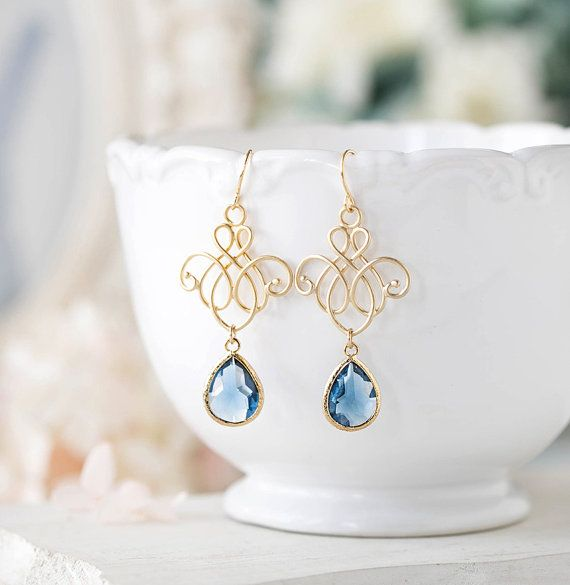 Azules marino pendientes pendientes de boda algo azul por LeChaim