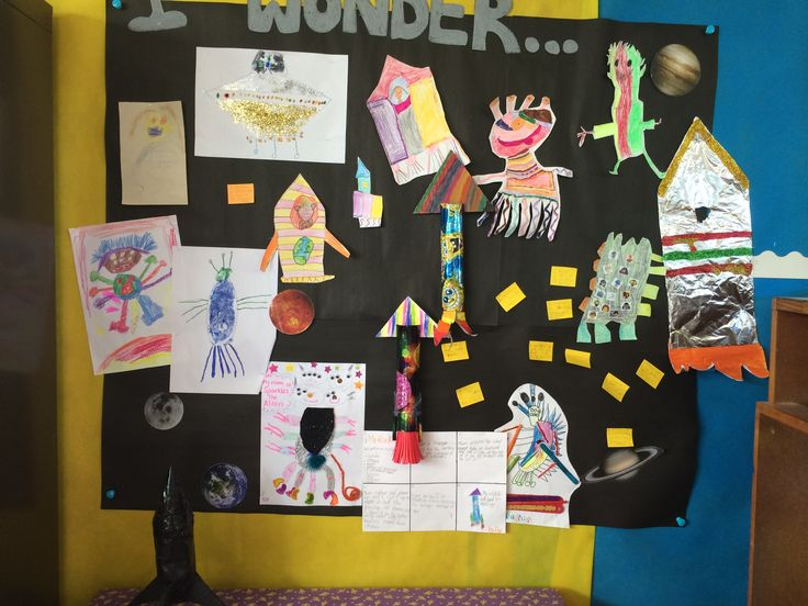 """""""I Wonder"""" wall - for the children to put on their questions and 'home learning' activities - in this case rockets and aliens!"""