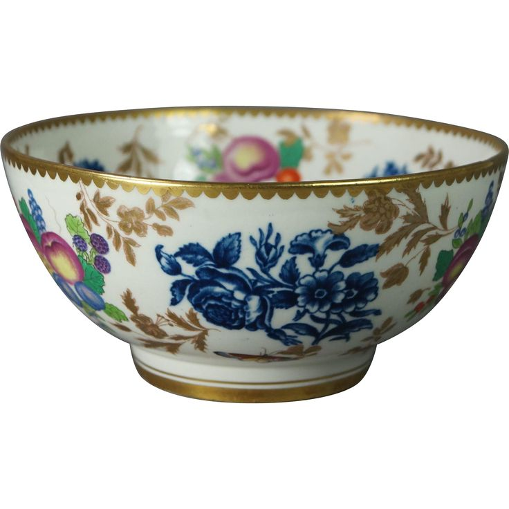 www.rubylane.com #vintagebeginshere  Antique English Small 19th Century China Bowl Worcester Style Blue And White Transferware Fruit Butterflies