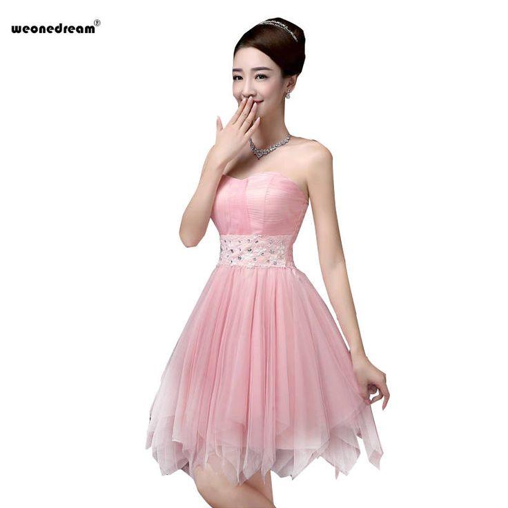 goedkope bruid korte ontwerp champagne bruidsmeisje jurken roze witte liefje formele korte jurk huwelijk ontwerp dames jurk jurk