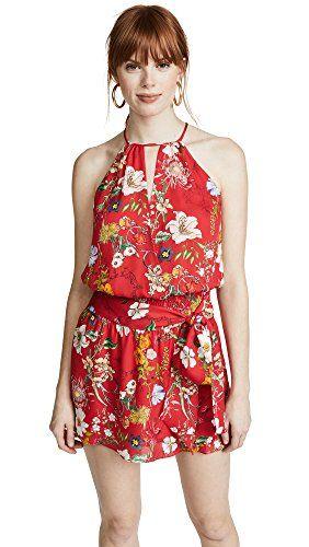 47d1ab0a35e8 Parker Women's Larissa Sleeveless Printed Floral Silk Mini Dress, Red  Sangria, M Sleeveless floral