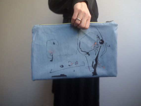 Unique urban stile Large Canvas Clutch Bag Light Blue Hand Painted  Clutch by koatye1