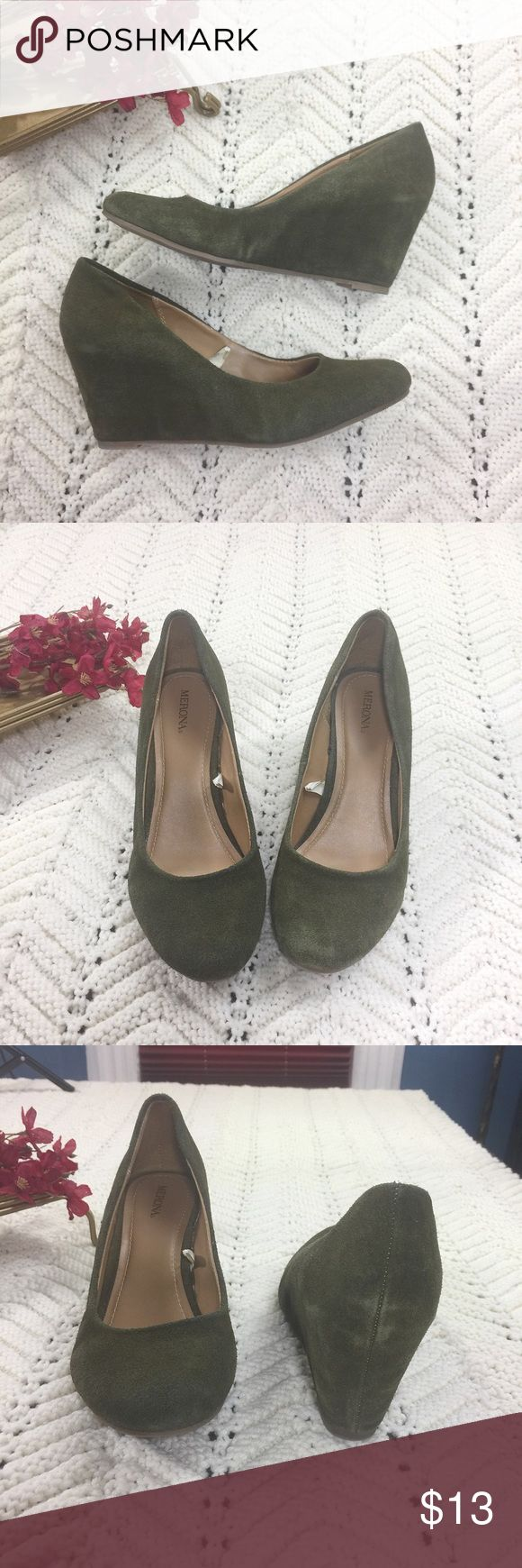 "Santa Sale Merona Faux Suede Green Wedges Merona Faux Suede Green Wedges. Round toe. Green is on the darker side. Material: upper: leather; man made material outsole. Heel: 2.75"". Please look at pictures for evidence of light wear. Good used condition. Merona Shoes Wedges"