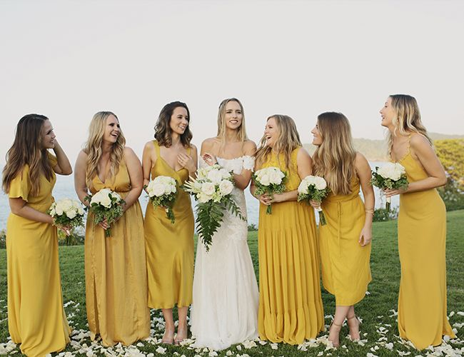 A Relaxed Marigold Wedding In Sayulita Mexico Inspired By This Marigold Bridesmaid Dress Marigold Wedding Beach Wedding Bridesmaids