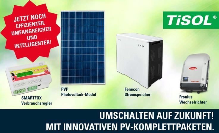 Machen Sie mit und investieren Sie in die Zukunft! TiSOL hat für Sie die Komplett-Pakete jetzt noch umfangreicher und effizienter gestaltet.Hochwertige Qualitäts-Produkte wie das jetzt noch leistungsstärkere PVP Photovoltaik Modul, den Fenecon Stromspeicher, den Fronius Wechselrichter und den intelligenten SMARTFOX Verbrauchsregler.  Die TISOL bietet nach Ihren Bedürfnissen geschaffenen Komplettlösungen an. Kontaktieren Sie uns doch für weitere Informationen: http://www.tisol.at/wp/kontakt