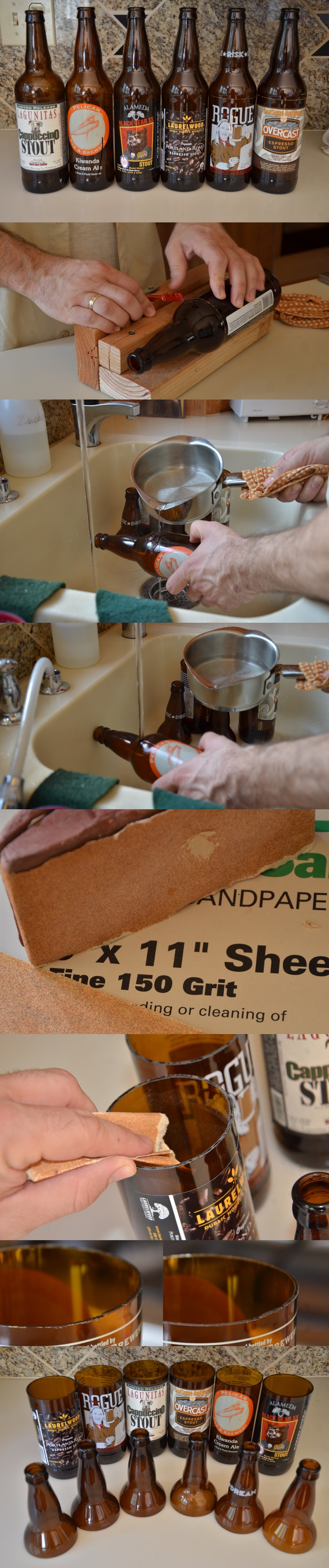 Making planters for the office out of 22oz beer bottles.  Score with a single pass of a glass cutter (I built a jig out of some scrap wood.)  Slowly pour boiling water over the score line.  Once heated, run under cold tap water.  Once cooled, begin repouring boiling water over bottle and *pop*, the top drops off.  Now smooth the edges with 150 grit sand paper and you're done.