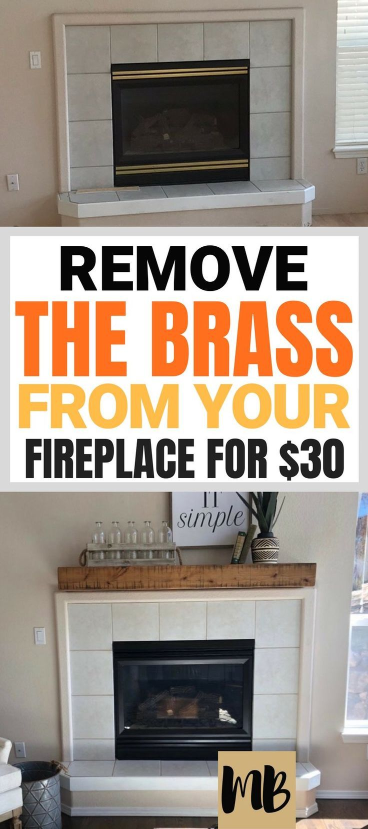 Spray Paint Brass Fireplace Makeover Plus A Floating Mantle For 150 Fireplace Makeover Brass Fireplace Makeover Diy Fireplace Makeover