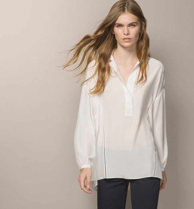 OPEN WORK LOOSE BLOUSE - Whites - Shirts & Blouses - WOMEN - United States - Massimo Dutti
